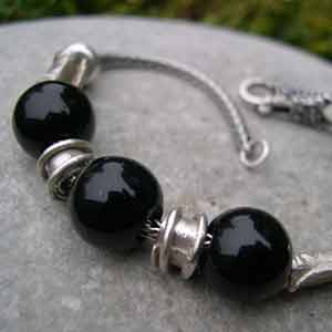 black agate and silver beaded bracelet