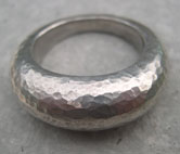 handcrafted chunky silver ring hammered
