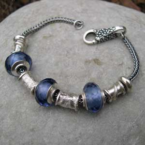 beaded bracelet glass and silver