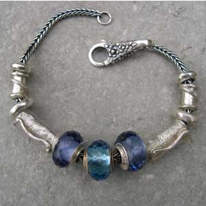 silver and blue bead bracelet
