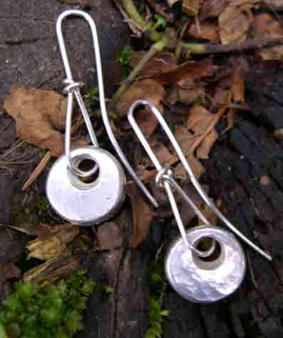 designer silver pebble earrings