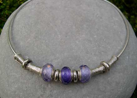 Purple and Lilac beaded necklace with extra silver beads
