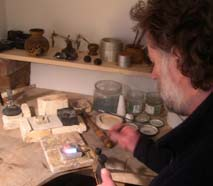 Michael Jefferies making wedding rings in workshop