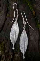 contemporary silver leaf earrings