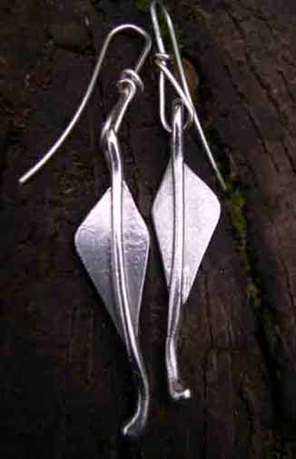 silver leaf designer dearrings