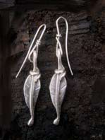 silver feather designer earrings
