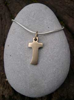 handmade gold cross pendant