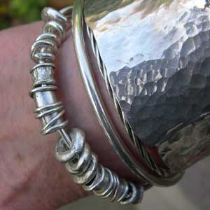 designer silver beads , bangle and cuff